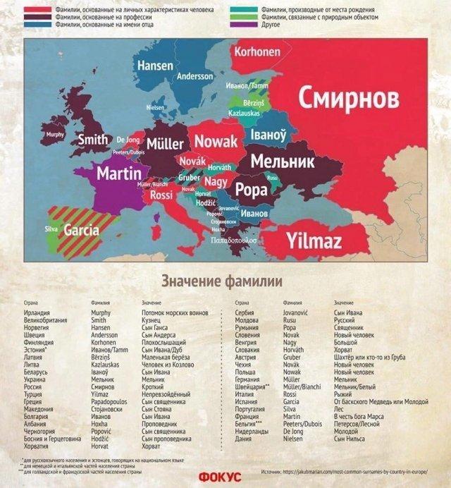 Самые распространенные фамилии в Европе и их значения график, информация, факты