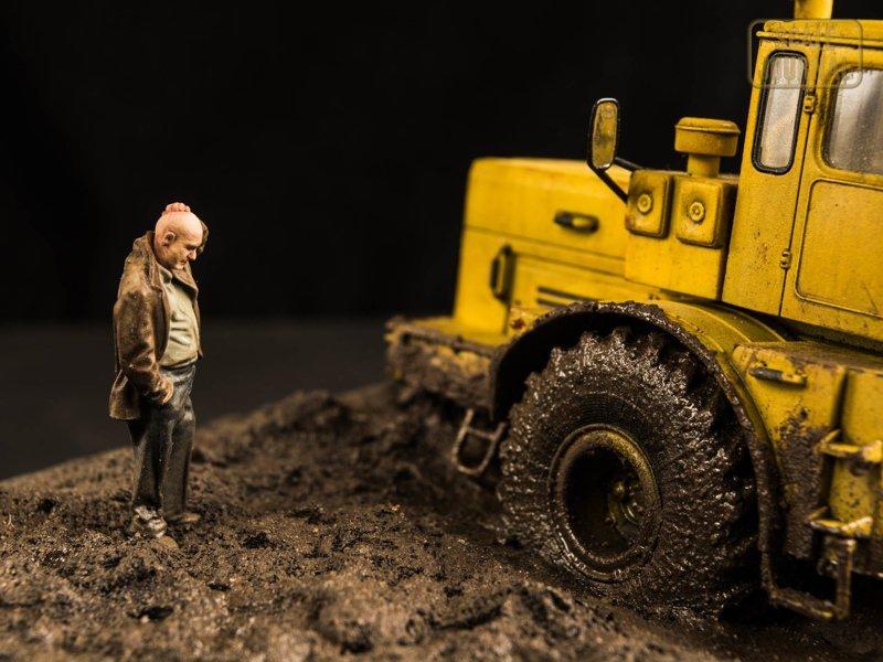 """Подарок отцу на ДР - Диорама """"Приехали..."""" Диорамы, Кировец, к-701, миниатюра, моделизм, сборные модели, трактор, хобби"""