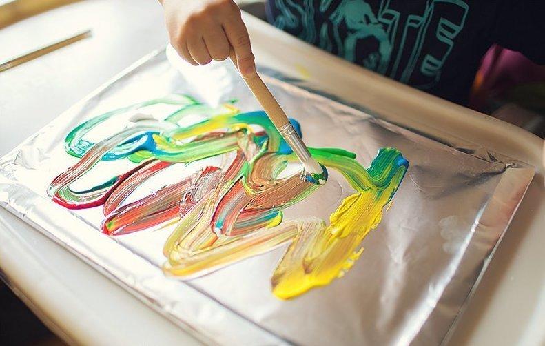 9. Рисование с ребенком алюминиевая фольга, в быту, интересно, полезно, фольга, фото, хитрости