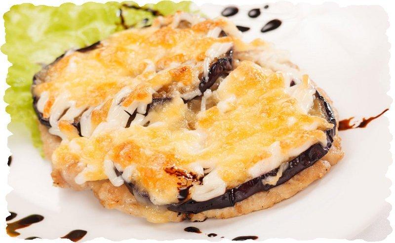 Мясо запеченное  в духовке с баклажанами под сыром еда, кулинария, мясо в духовке, мясо под сыром, мясо с баклажанами, рецеп, рецепт баклажанов