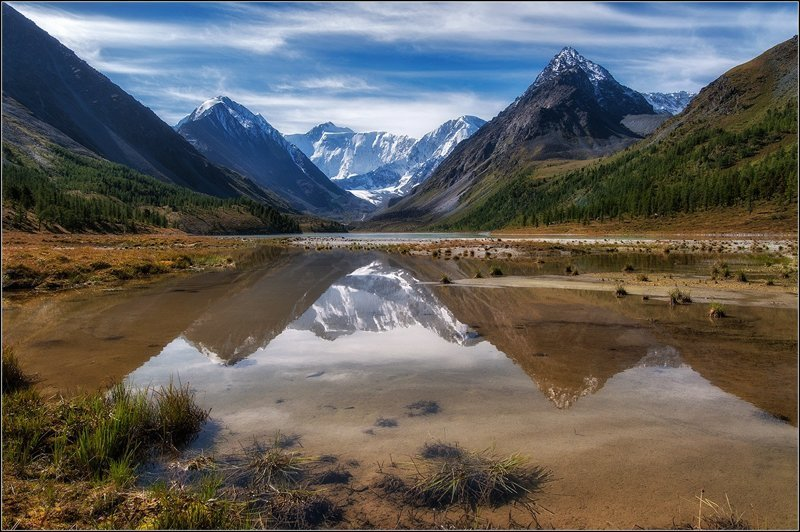 Озеро Аккемское, гора Белуха.