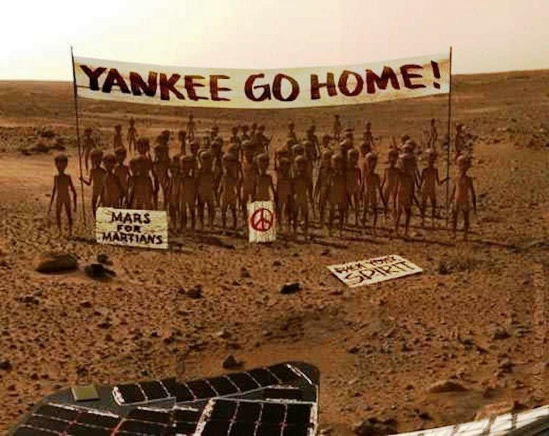 Интернет-пользователи уже представили, как марсиане встретили зонд InSight, nasa, ynews, космос, марс, новости, фотография
