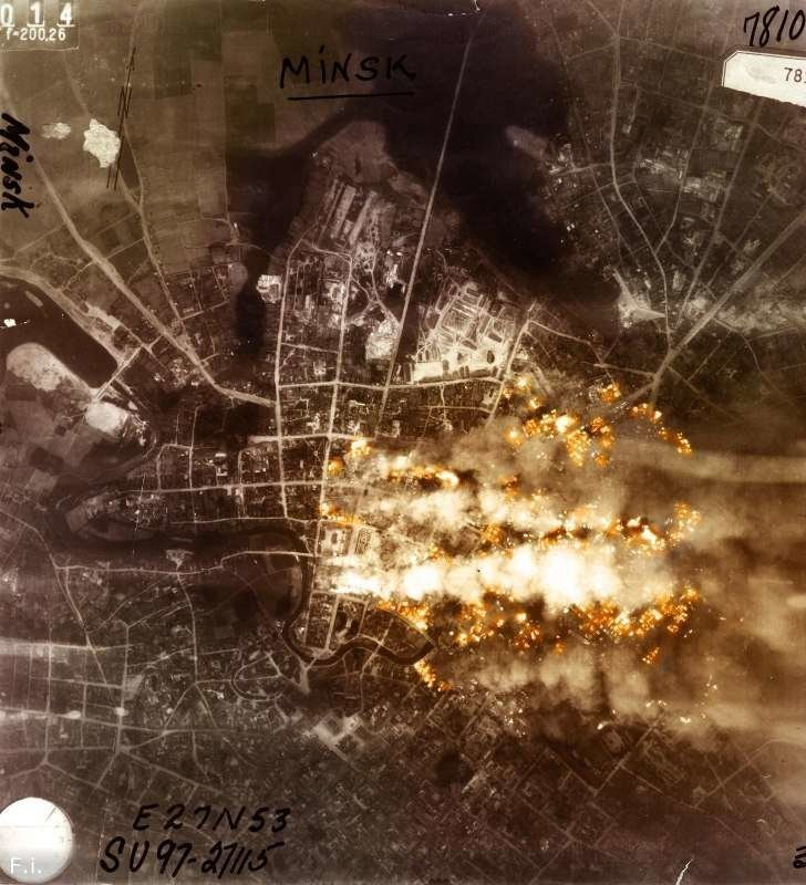 Фотофиксация результатов бомбардировки Минска немецким разведчиком. 24 июня 1941 г. Великая отечественая война, архивные фотографии, вторая мировая война