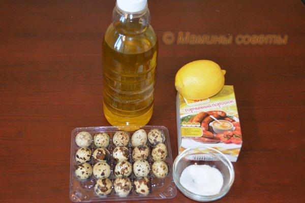 Продукты для полезного майонеза  Перепелиные яйца - 6 штуки, масло оливковое нерафинированное - 150-200 мл, горчица - 1/2-1 ч.л., сок лимона 1-2 ст.л., сахар 1 ч.л., соль по вкусу на кончике ножа. вкусно, еда, кулинария, майонез, полезно, соус