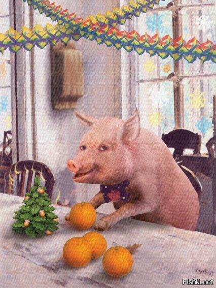 теперь, картинка свинья в апельсинах предлагает вспомнить рекламные