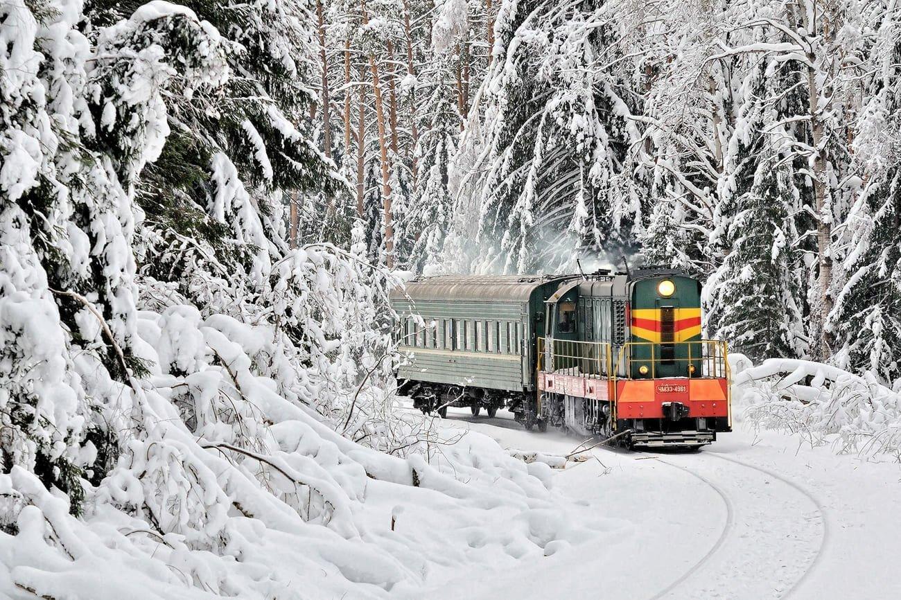 железная дорога картинки зимняя пастельных