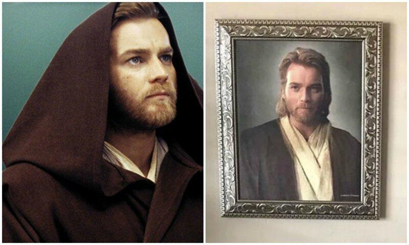 Сын подарил верующей матери портрет Оби-Вана, а она приняла его за Иисуса Оби-Ван, забавно, иисус, оби ван кеноби, прикол, розыгрыш, сюрприз, фото