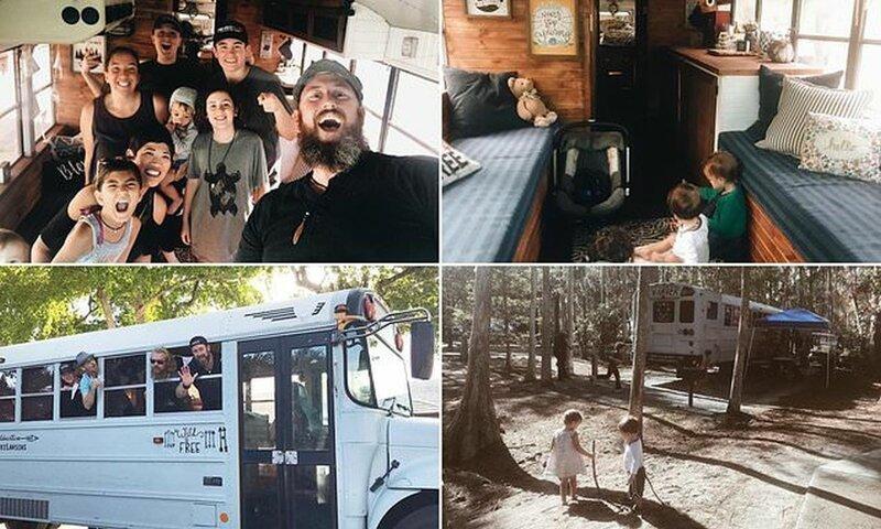 Дружная семья путешествует по Америке в старом школьном автобусе