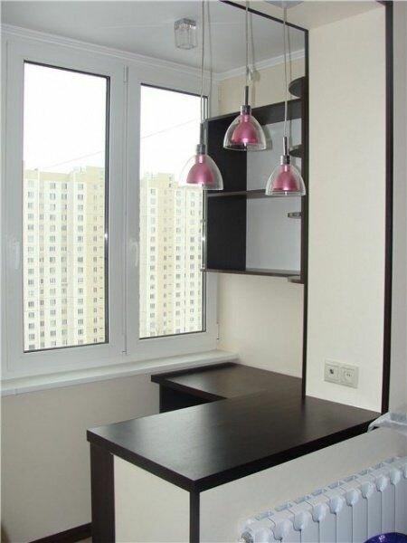 7. А вот еще интересная задумка: общее пространство кухни/гостиной и лоджии балкон, дизайн, идеи для ремонта, маленький балкон, ремонт, своими руками, фото