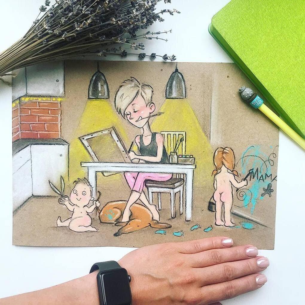 Картинки мама и дети нарисованные смешные