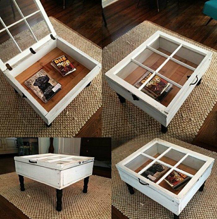Уникальное украшение для гостиной из старой оконной рамы до и после, идея, мебель, ремонт, своими руками, фантазия