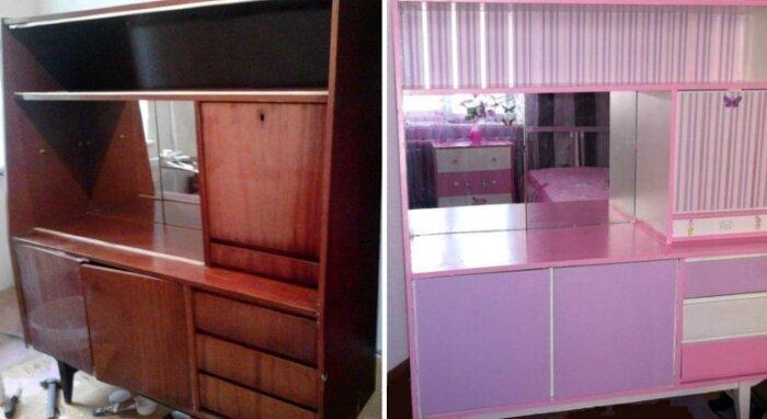 Бабушкин сервант перекочевал в комнату для девочки до и после, идея, мебель, ремонт, своими руками, фантазия