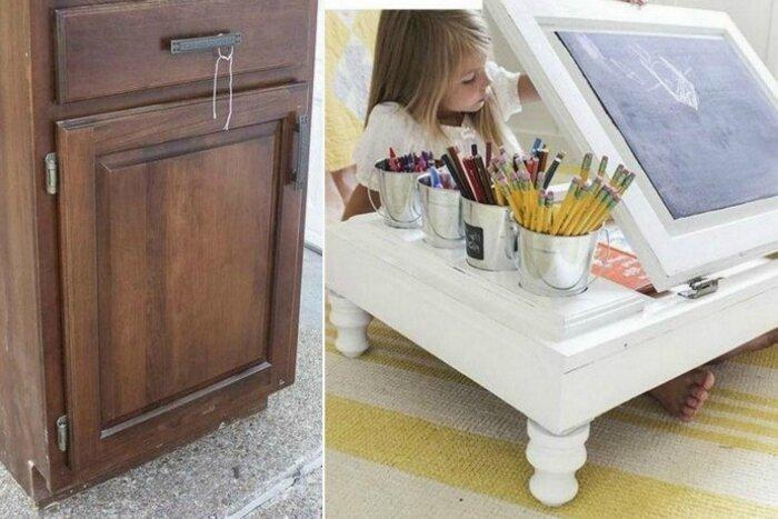 Старая тумбочка превратилась в детский столик для творчества. Ребенок в восторге! до и после, идея, мебель, ремонт, своими руками, фантазия