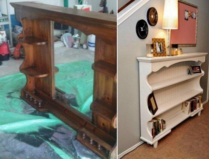 Стеллаж из верхней части старого трюмо до и после, идея, мебель, ремонт, своими руками, фантазия