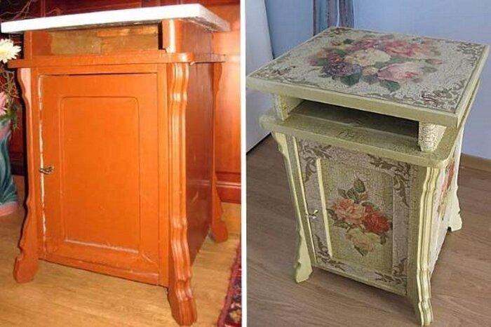 Порой на помощь приходит декупаж до и после, идея, мебель, ремонт, своими руками, фантазия