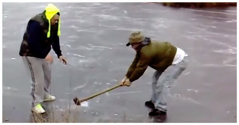 Ленивая русская рулетка на замерзшей реке