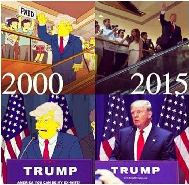 """1. Президентство Трампа 17 серия 11 сезон: «Барт в будущее»; """"Trumptastic Voyage Предсказано: 19 марта 2000 года; 7 июля 2015 года Сбылось: 2016 год Статус: реальное предсказание история, прикол, факты, юмор"""
