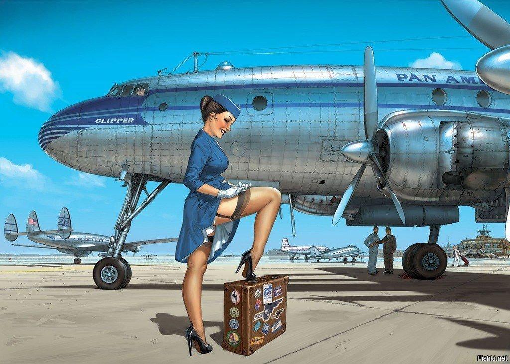 Юбилей женщине, прикольные открытки с самолетом