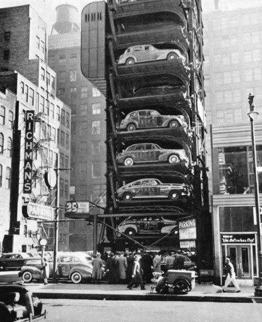 Чикаго, 1941 авто, автомобили, архив, из прошлого, машины, парковка, прошлое, ретро