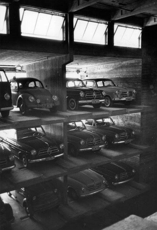 Карлсруэ, Германия, 1955 авто, автомобили, архив, из прошлого, машины, парковка, прошлое, ретро