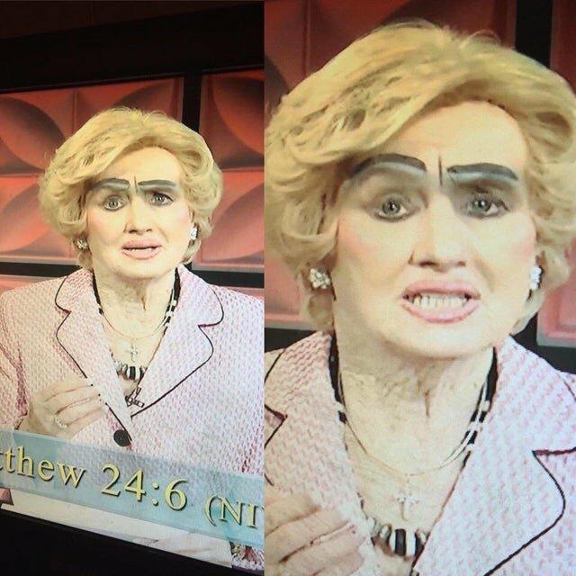 1. Она пришла с таким макияжем на телевидение девушки, макияж, плохой макияж, прикол, смешно, ужасный мэйк, юмор