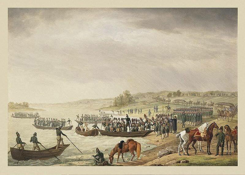 Переправа Итальянского корпуса Евгения Богарне через Неман 30 июня 1812 года. Немецкий художник Альбрехт Адам.