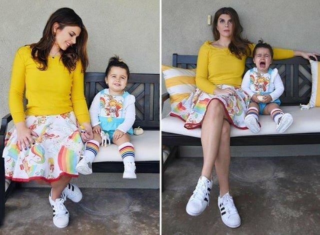 """16. """"Моя подруга работает фотографом. Она часто рассказывает истории о странных матерях, которые приходят на фотосессии и заставляют детей позировать, если они не хотят, то на них ругаются. За кадром идеальных снимков дети не очень-то и счастливы!"""" в интернете и в жизни, ожидание и реальность, прикол, смешно, фото"""