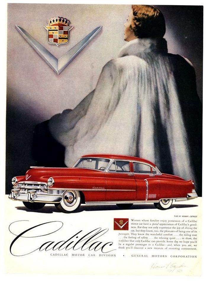 Женщины в мехах на рекламных постерах Cadillac начала 50-х годов