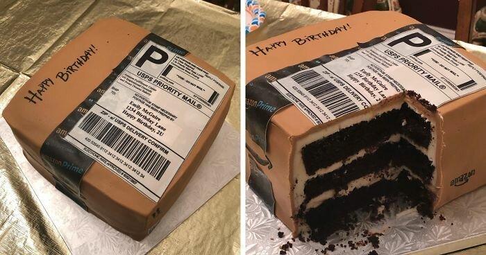 Женщина так любила заказывать на Amazon, что муж преподнёс ей на день рождения торт в виде посылки