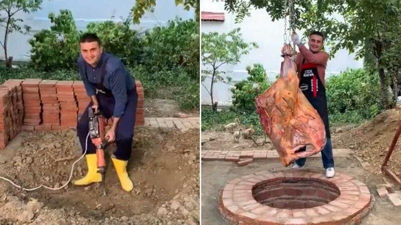 Как Бурак Оздемир соорудил тандыр в земле и приготовил огромный кусок мяса