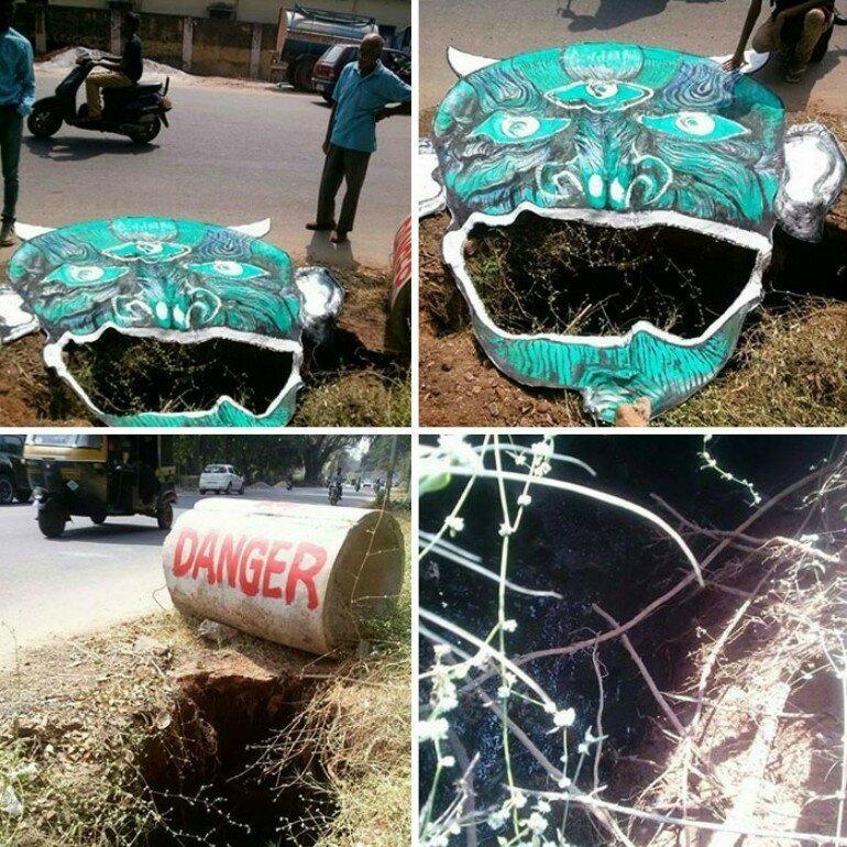 Индиец придумал креативный способ борьбы с плохими дорогами