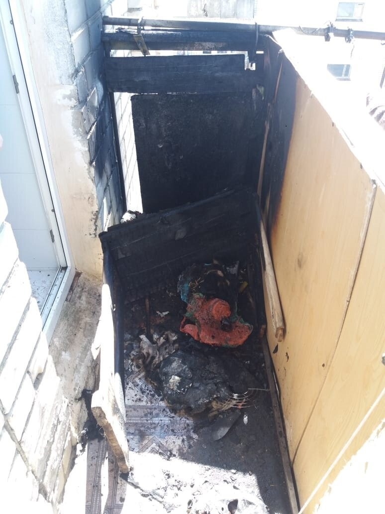 Последствия пожара на балконе