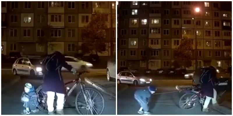 В Казани мать привязала ребёнка верёвкой к велосипеду, чтобы он не отставал