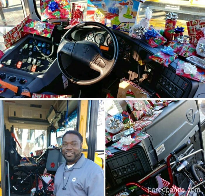 Водитель школьного автобуса спросил каждого ребенка, что они хотели бы получить на Рождество. Он купил каждому школьнику подарок, и вручил перед праздником