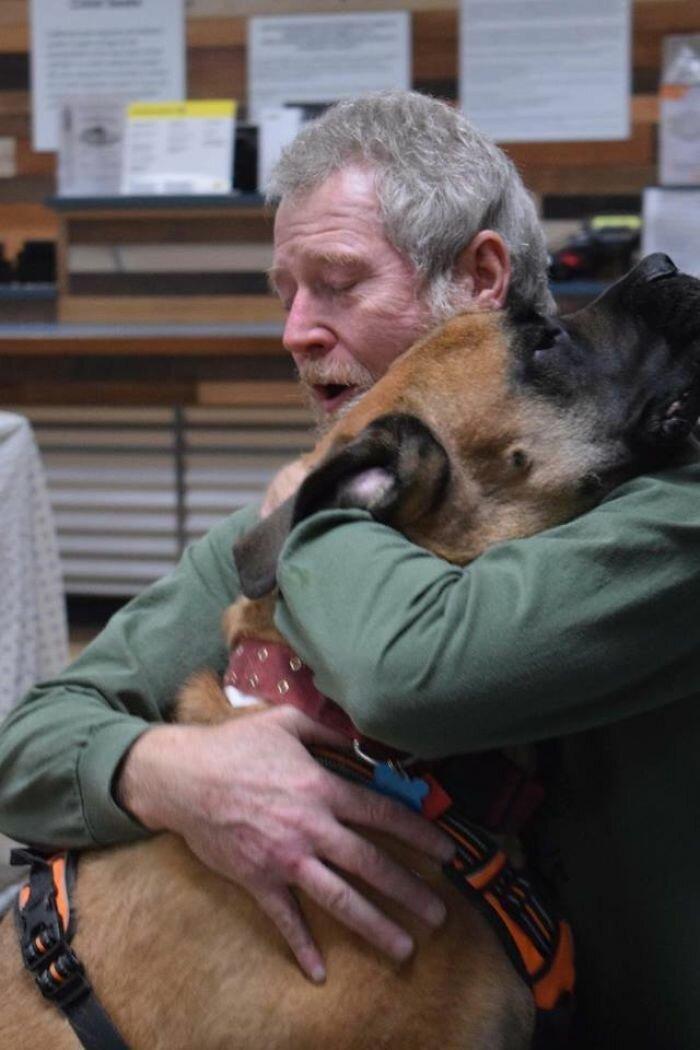 Мужчина воссоединился со своей собакой после пожаров в Калифорнии
