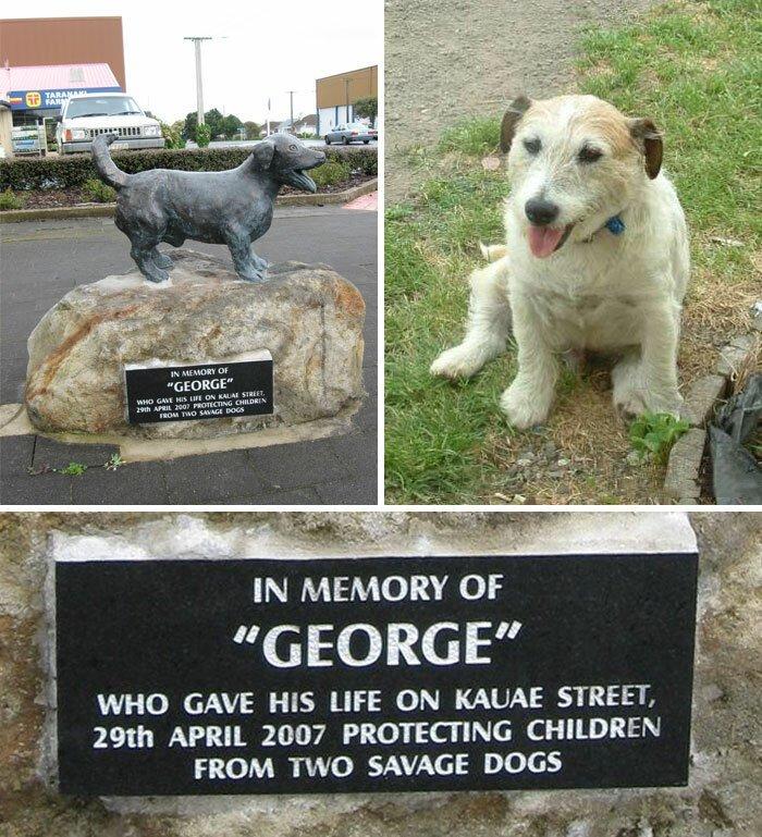 В новозеландском городке есть памятник терьеру Джорджу. Песик ценой своей жизни спас ребенка от нападения двух питбулей