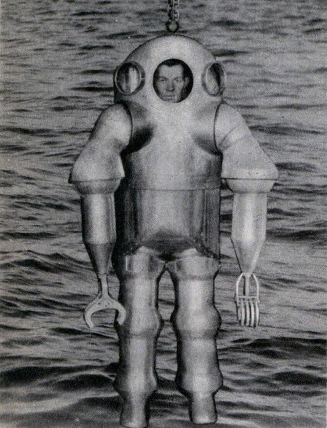 Металлический костюм, позволявший водолазу спускаться на глубину более 350 м, 1938.
