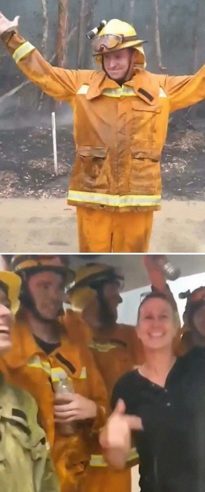 Пожарные буквально танцевали от радости, когда пошел первый дождь