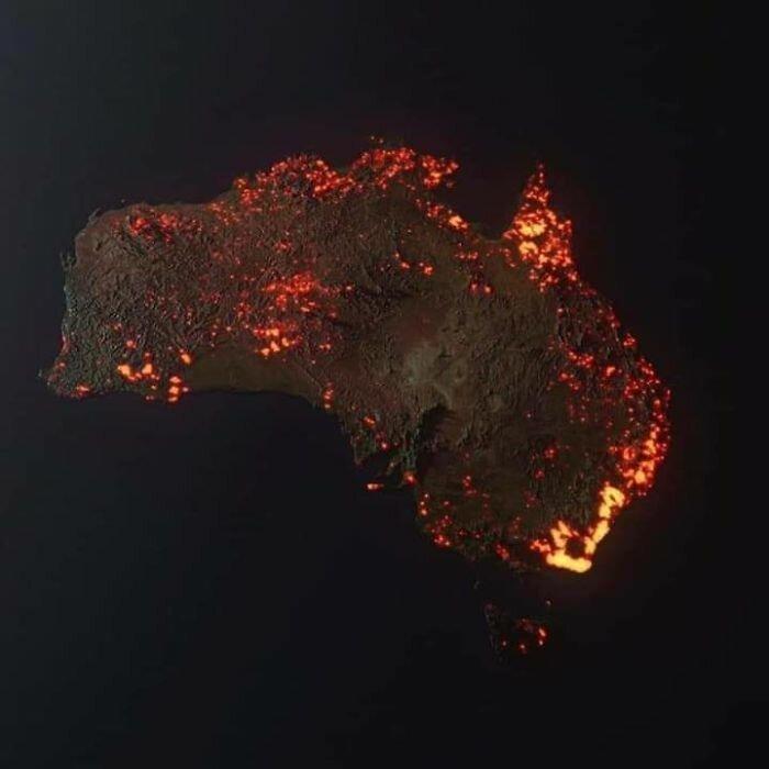 3D-визуализация пожаров в Австралии, сделанная по спутниковым данным Nasa
