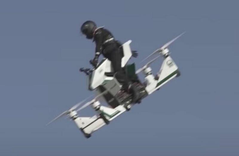 Крушение летающего мотоцикла во время испытательного полета в Дубае