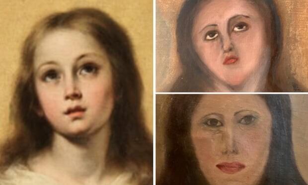 Дева Мария до и после реставрации