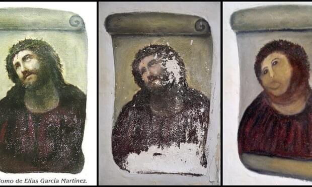 Реставратор-рукожоп изуродовал Деву Марию эпохи Барокко