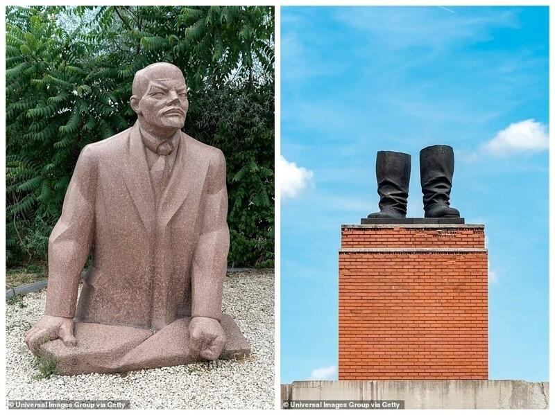 Один из памятников Ленину (в парке их несколько) и сапоги на постаменте - всё, что осталось от 8-метровой статуи Сталина