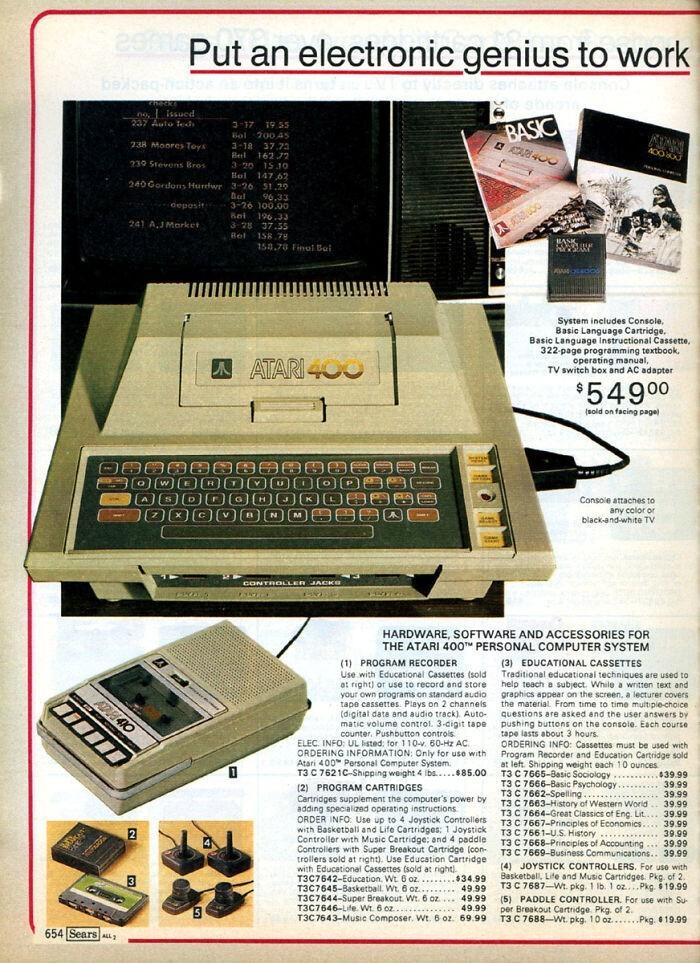 Компьютер Atari 400 - $549