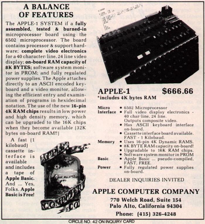 Apple I, 1976 год - $666,66