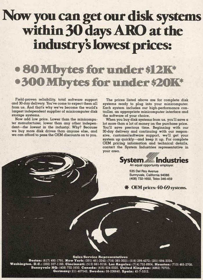 Жесткий диск на 80 МБ - $12000! Это 1980-е