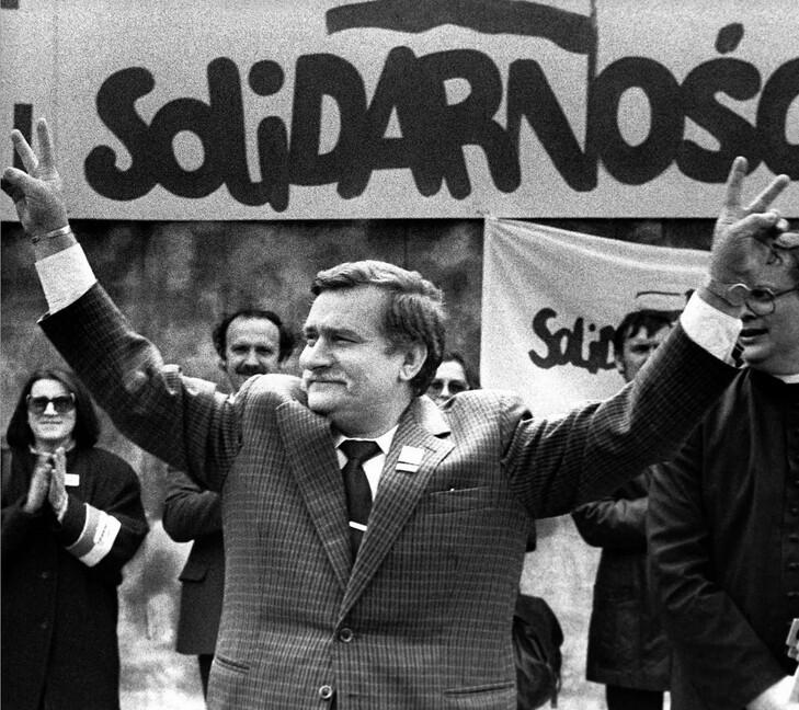 """Лех Валенса, один из председателей организации """"Солидарности"""". будущий президент Польши."""