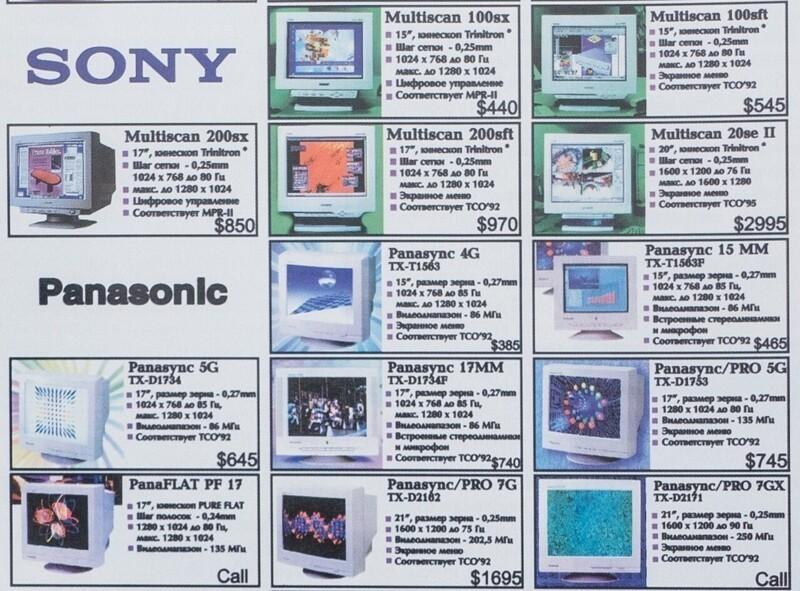 Цены на видеомониторы в компьютерном журнале, 1997 год