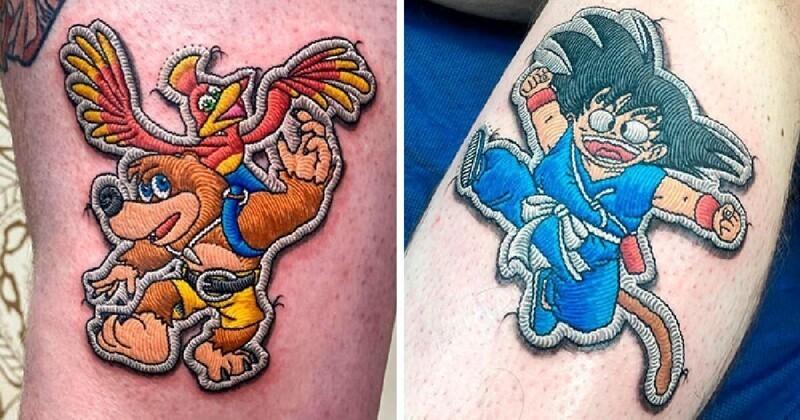 Художник делает татуировки, похожие на нашивки
