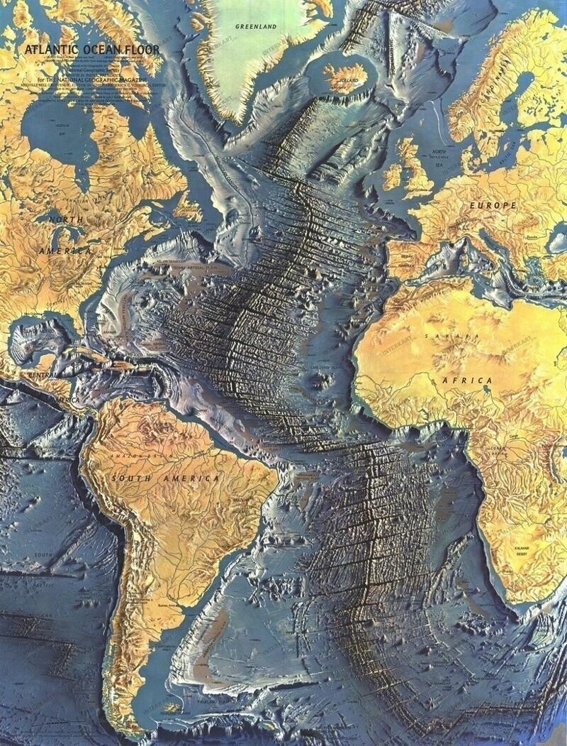 Карта рельефа Атлантического океана